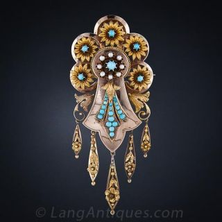 Victorian Turquoise Suite of Pin/Pendant and Earrings