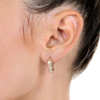 Victorian 2.80 Carats Diamond Hoop Earrings