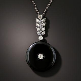 Viennese Art Deco Diamond and Onyx Pendant - 3