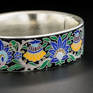Viennese Silver Cloisonne Enamel Bangle Bracelet