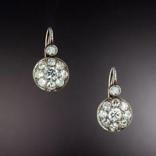 Viennese Vintage Diamond Cluster Earrings - 1