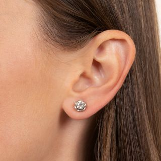 Vintage 1.10 Carats Diamond Stud Earrings