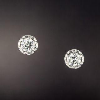 Vintage 1.10 Carats Diamond Stud Earrings - 1