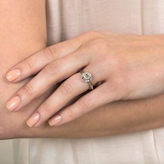 Antique Style 1.12 Carat European-Cut Diamond Solitaire Engagement Ring - GIA