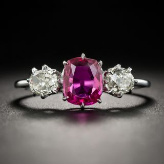 Vintage 1.15 Ct. Burma No-Heat Ruby and Diamond Ring - 3