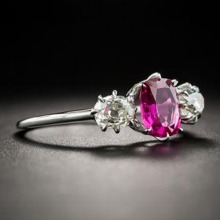 Vintage 1.15 Carat Burma No-Heat Ruby and Diamond Ring