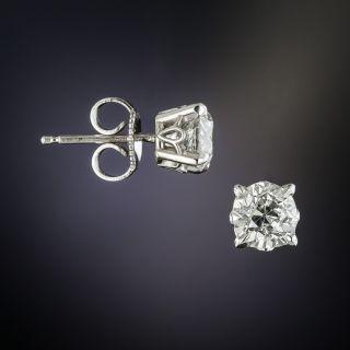 Vintage 1.32 Carat European-Cut Diamond Ear Studs