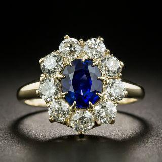 Vintage 1.59 Carat Ceylon Sapphire and Diamond Halo Ring - 3