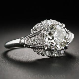 Vintage 1.65 Carat Diamond Engagement Ring, Circa 1940s-1950s