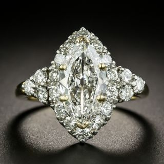 Vintage 1.69 Carat Marquise Diamond Halo Ring - GIA  I VS1 - 3