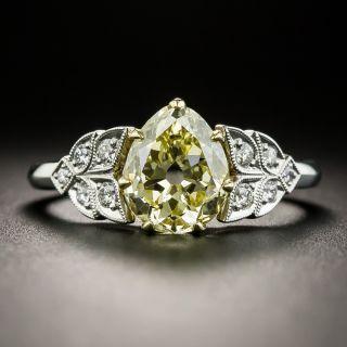 Vintage 1.70 Carat Natural Fancy Yellow Antique Pear Shape Diamond Ring - GIA  - 1