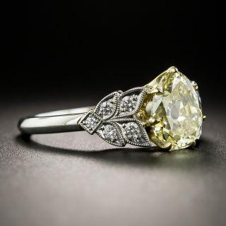 Vintage 1.70 Carat Natural Fancy Yellow Antique Pear Shape Diamond Ring - GIA