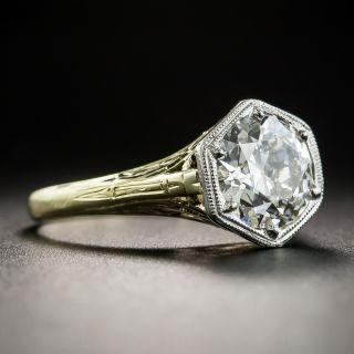Vintage 1.76 Carat European-Cut Diamond Solitaire Engagement Ring