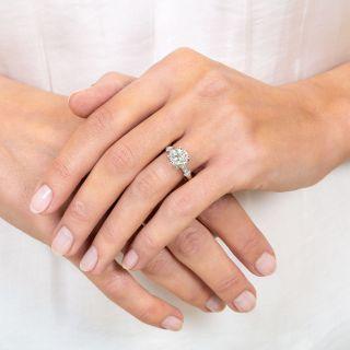 Vintage 1.81 Carat Diamond Platinum Engagement Ring - GIA K VS2