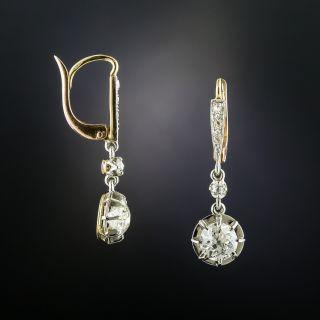 Vintage 1.99 Carat Diamond Drop Earrings - GIA - 2