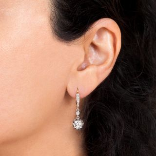 Art Deco 1.99 Carat Diamond Drop Earrings - GIA