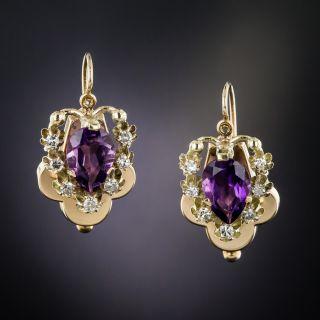 Vintage 14K Amethyst and Diamond Earrings - 2