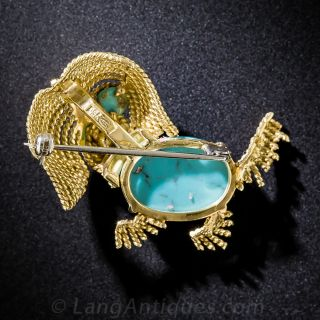 Vintage 18k and Natural Persian Turquoise Puppy Pin