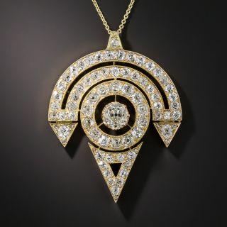 Vintage 18K Diamond Pendant Necklace - 4