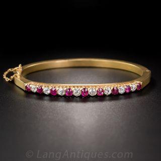 Vintage 18K Ruby and Diamond Bangle Bracelet