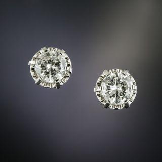 Vintage 2.03 Carat Diamond Stud Earrings - GIA G SI2/I1 - 2