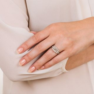 Vintage 2.11 Carat Diamond Platinum Engagement Ring - GIA H VS1