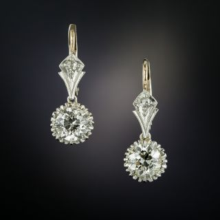 Vintage 2.13 Carat Diamond Drop Earrings - GIA - 3