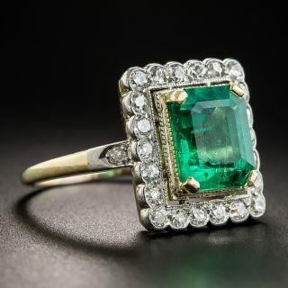 Vintage 2.40 Carat Emerald Diamond Ring