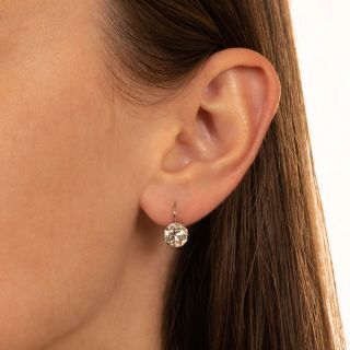 Vintage 2.41 Carat Diamond Solitaire Earrings - GIA