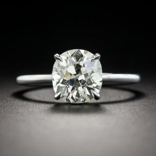 Vintage 2.49 Carat Antique Cushion-Cut Diamond Solitaire Engagement Ring