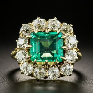 Vintage 2.75 Carat Colombian Emerald and Diamond Ring - 2