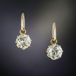 Vintage 2.96 Carat Total Weight Diamond Drop Earrings - GIA  - 1