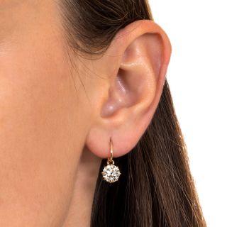 Vintage 2.96 Carat Total Weight Diamond Drop Earrings - GIA
