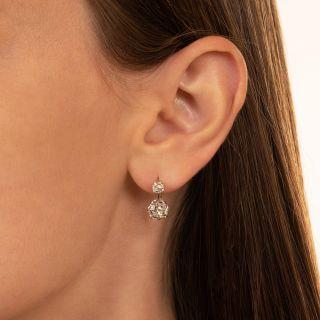 Vintage  3.26 Carat Total Weight Diamond Earrings - GIA