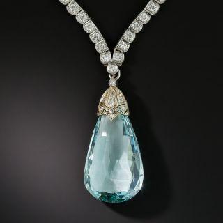 Vintage 35 Carat Briolette Cut Aquamarine and Diamond Necklace - 2