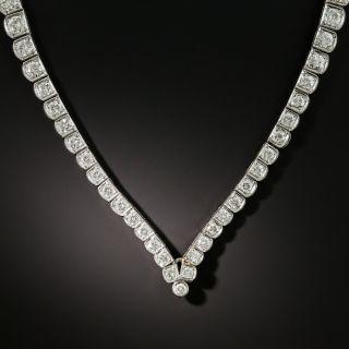 Vintage 35 Carat Briolette Cut Aquamarine and Diamond Necklace