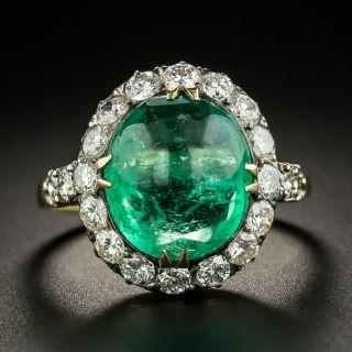 Vintage 5.40 Carat Cabochon Emerald and Diamond Ring - 2
