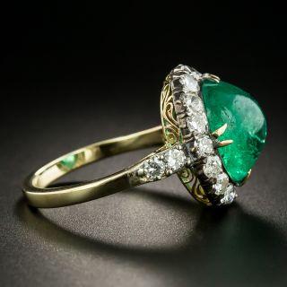 Vintage 5.40 Carat Cabochon Emerald and Diamond Ring