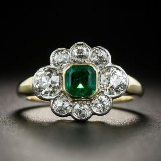 Vintage .50 Carat Emerald Diamond Ring - 2