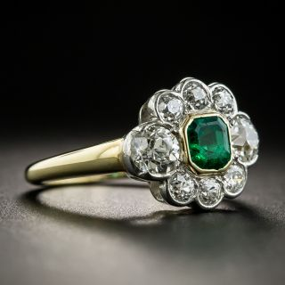Vintage .50 Carat Emerald Diamond Ring