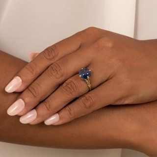 Vintage 6.76 Carat No-Heat Sapphire Solitaire Ring - GIA