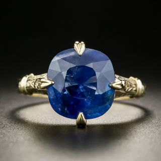 Vintage 6.76 Carats No-Heat Sapphire Solitaire Ring - GIA - 2