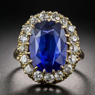 Vintage 7.68 Carat Sapphire and Diamond Ring - 2