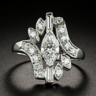 Vintage .76 Carat Marquise Diamond Dinner Ring - GIA D VS1 - 1