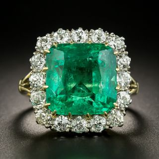 Vintage 8.60 Carat Emerald and Diamond Ring - 3