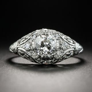 Vintage .87 Carat Diamond Platinum Engagement Ring  - 2