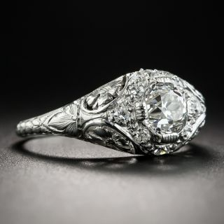 Vintage .87 Carat Diamond Platinum Engagement Ring