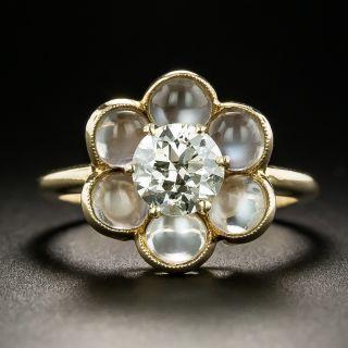 Vintage .88 Carat Diamond and Moonstone Cluster Ring by Untermeyer-Robbins - 2