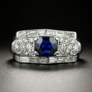 Vintage .90 Carat Cushion-Cut Sapphire and Diamond Ring - 2