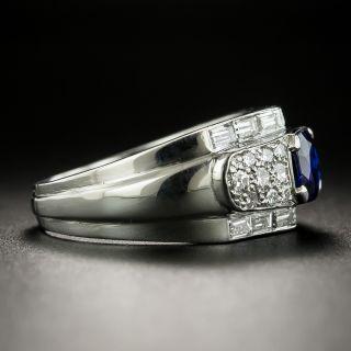 Vintage .90 Carat Cushion-Cut Sapphire and Diamond Ring